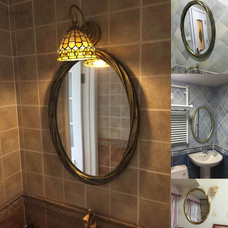 American style retro toilet mirror hanging European oval wall decoration dressing Chinese bathroom toilet make up mirror