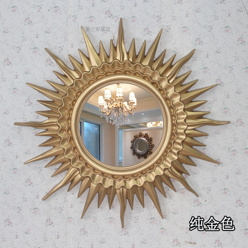 European style Sun decorative mirror dining room TV wall mounted mirror porch creative bedroom wall decorations