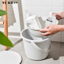 水桶家用储蓄水手提带盖大号加厚学生宿舍洗澡洗衣日式小圆塑料桶