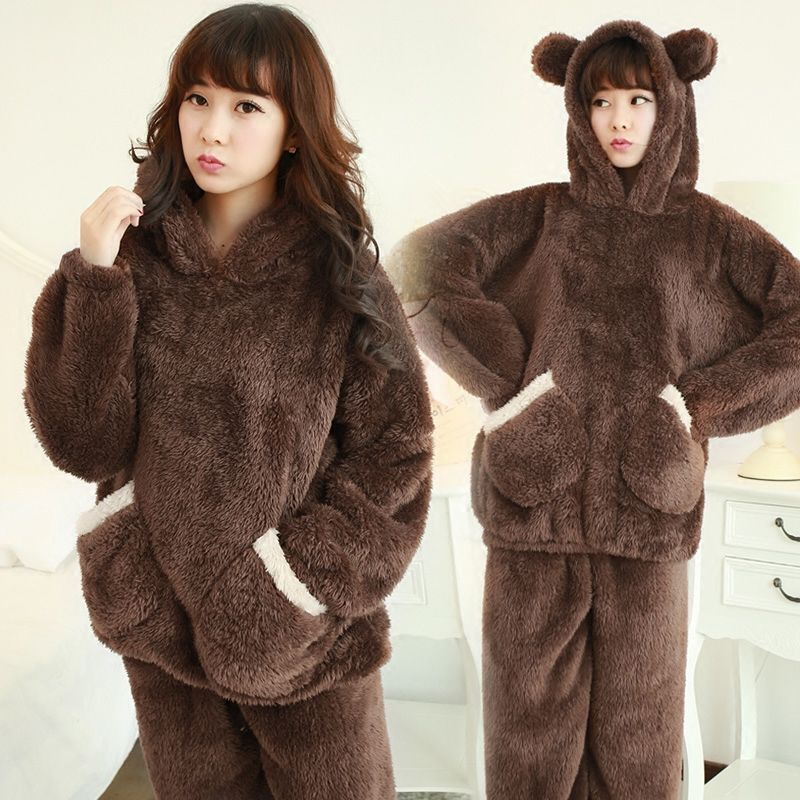 Winter coral velvet pajamas female students cute cartoon hooded thickened winter Plush Korean suit housewear girl
