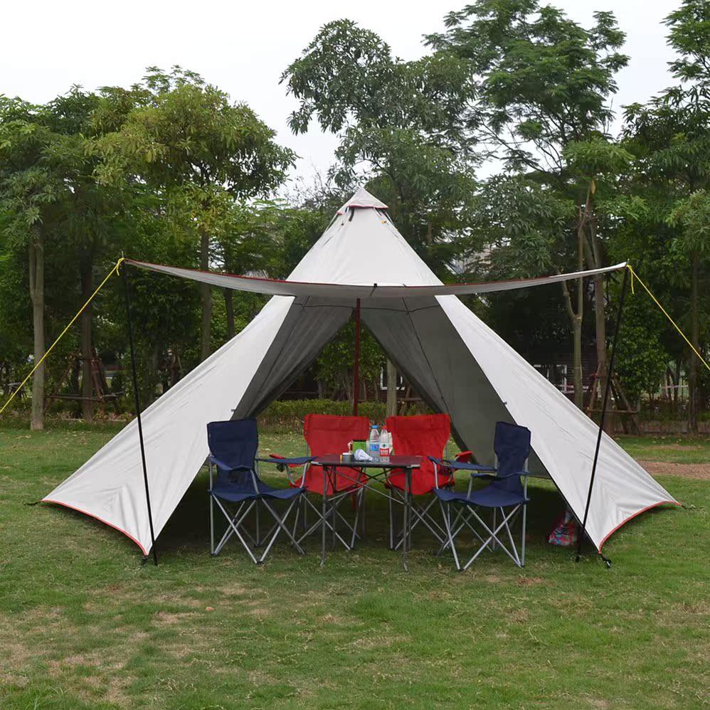 户外加厚防雨遮阳5-8人二室一厅野营露营哈比天幕金字塔帐篷定做