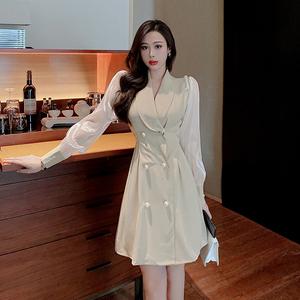 YF69886# 秋装新款法式桔梗裙拼接气质西装外套连衣裙 服装批发女装直播货源