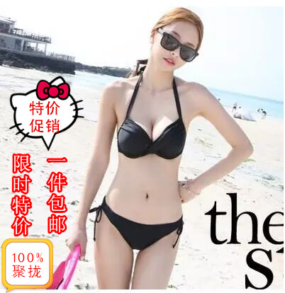 Bikini sexy three-point Swimsuit Size chest two-piece set Korean model art test solid color swimsuit gathering type