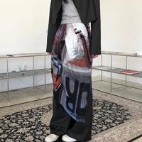 查看eiheyFW/小众复古艺术印花百搭外穿中长裙两侧开衩不规则半身裙价格