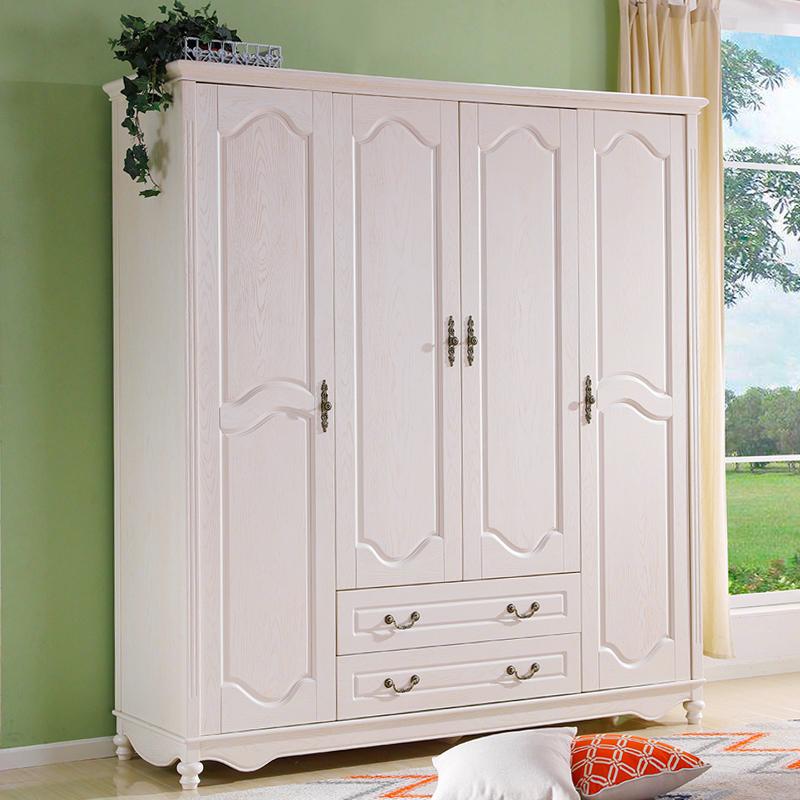 简美式衣橱衣柜全实木白色234门组装卧室两2米成人双人衣柜平开门6080.00元包邮