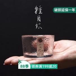 和风四季玻璃品茗杯耐热高硼硅锤目纹小茶杯功夫个人杯子日式酒杯