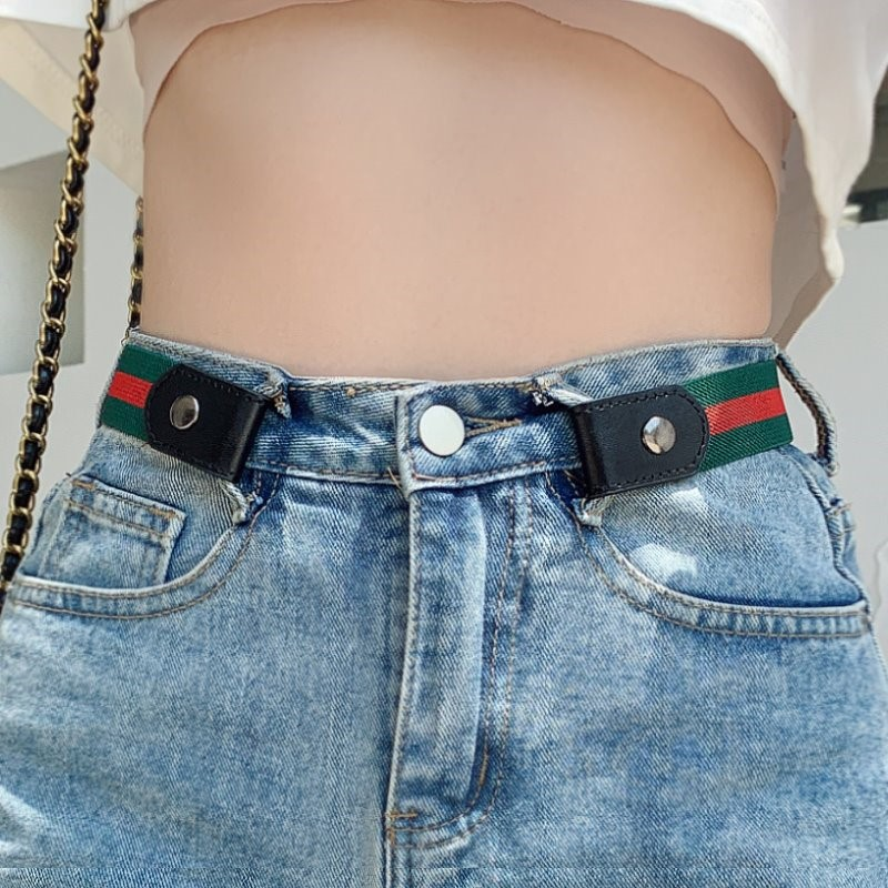 Decorative womens Japanese pants simple invisible canvas no play thin belt female leisure artifact female sports traceless