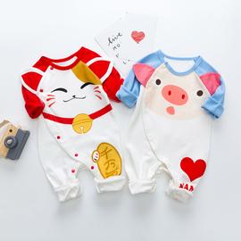婴儿连体衣春秋季纯棉薄款长袖男女宝宝哈衣爬服秋装新生幼儿衣服