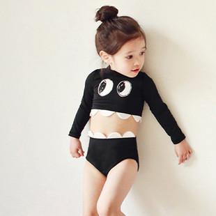 可愛嬰幼兒女寶寶泳衣兒童長袖防曬分體高腰褲遮肚女童温泉游泳衣