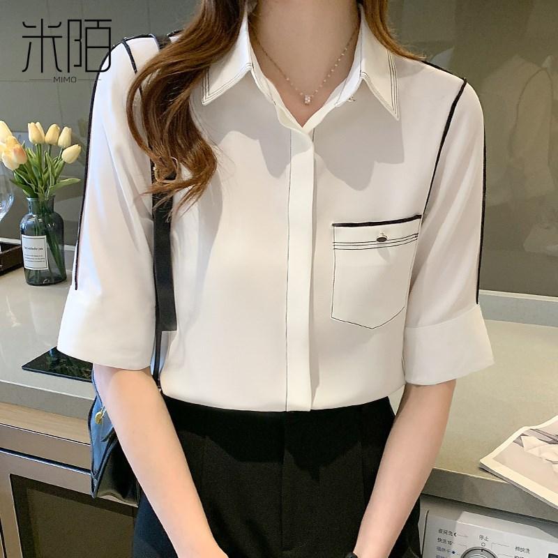 职业白色雪纺衬衫女装夏装2021年新款夏季薄款女士衬衣短袖上衣服