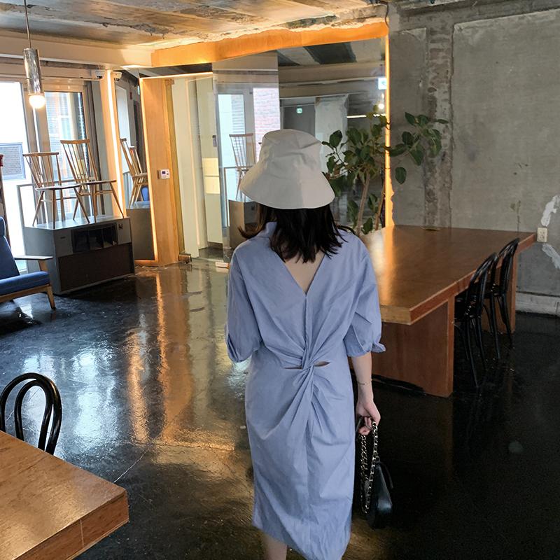 BENXE 2019新款全棉小众小心机设计感气质时尚衬衫条纹连衣裙女夏热销8件不包邮