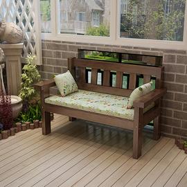 复古咖啡色做旧实木长椅阳台休闲靠背椅客厅三人椅双人沙发松木椅