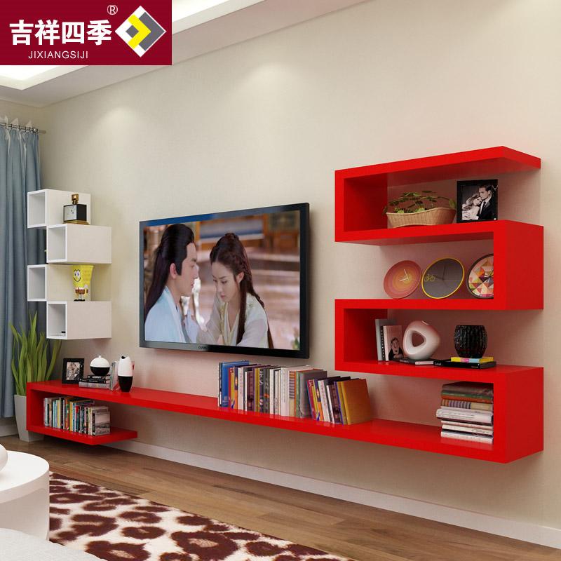 墙上置物架现代简约壁挂电视柜客厅影视墙隔板机顶盒架背景墙装饰