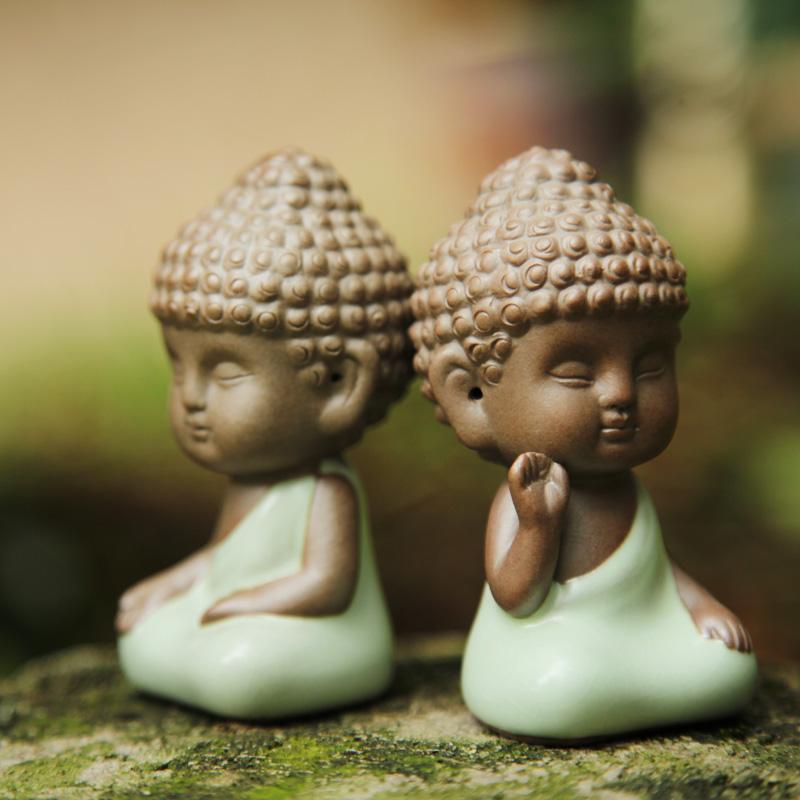 紫砂茶寵 擺件 佛像小和尚汽車擺件沙彌多肉汝窯哥窯茶寵茶玩