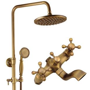 全銅仿古花灑套裝歐式淋浴花灑水龍頭復古沐浴器浴室家用恆温花灑