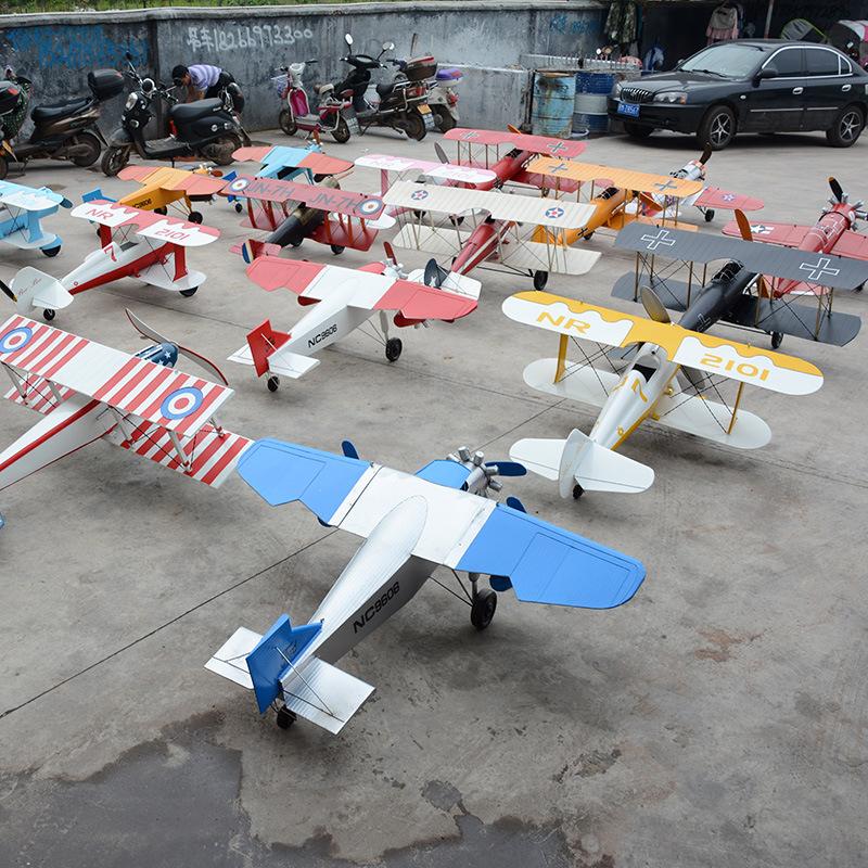 铁艺飞机模型商场开业展厅摄影道具商业装饰酒吧复古大型摆件挂件