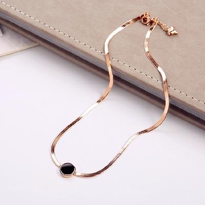 韩版简约时尚钛钢吊坠玫瑰金短款锁骨链女不掉色百搭项链气质配饰