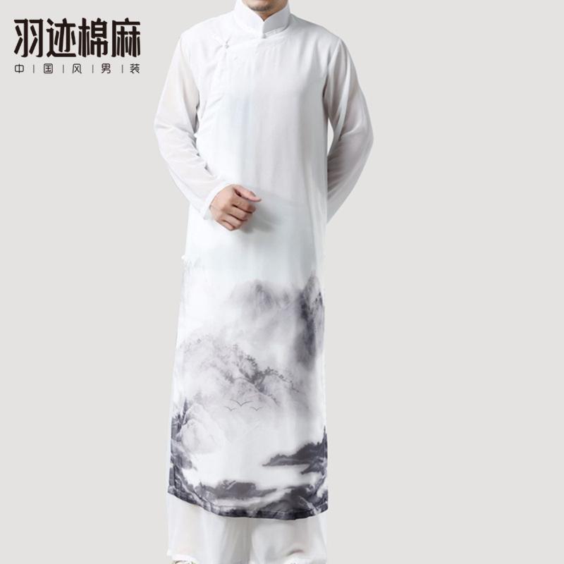11-26新券中国风唐装男民国白色长衫古装汉服