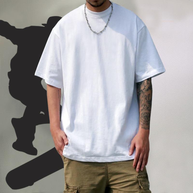 夏装bboy潮牌嘻哈Hiphop宽松男女装纯色小领口打底衫重磅短袖T恤