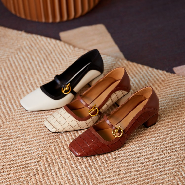 2020 new French style retro square head special-shaped heel bamboo rib leather single shoes marijean high-heeled womens shoes