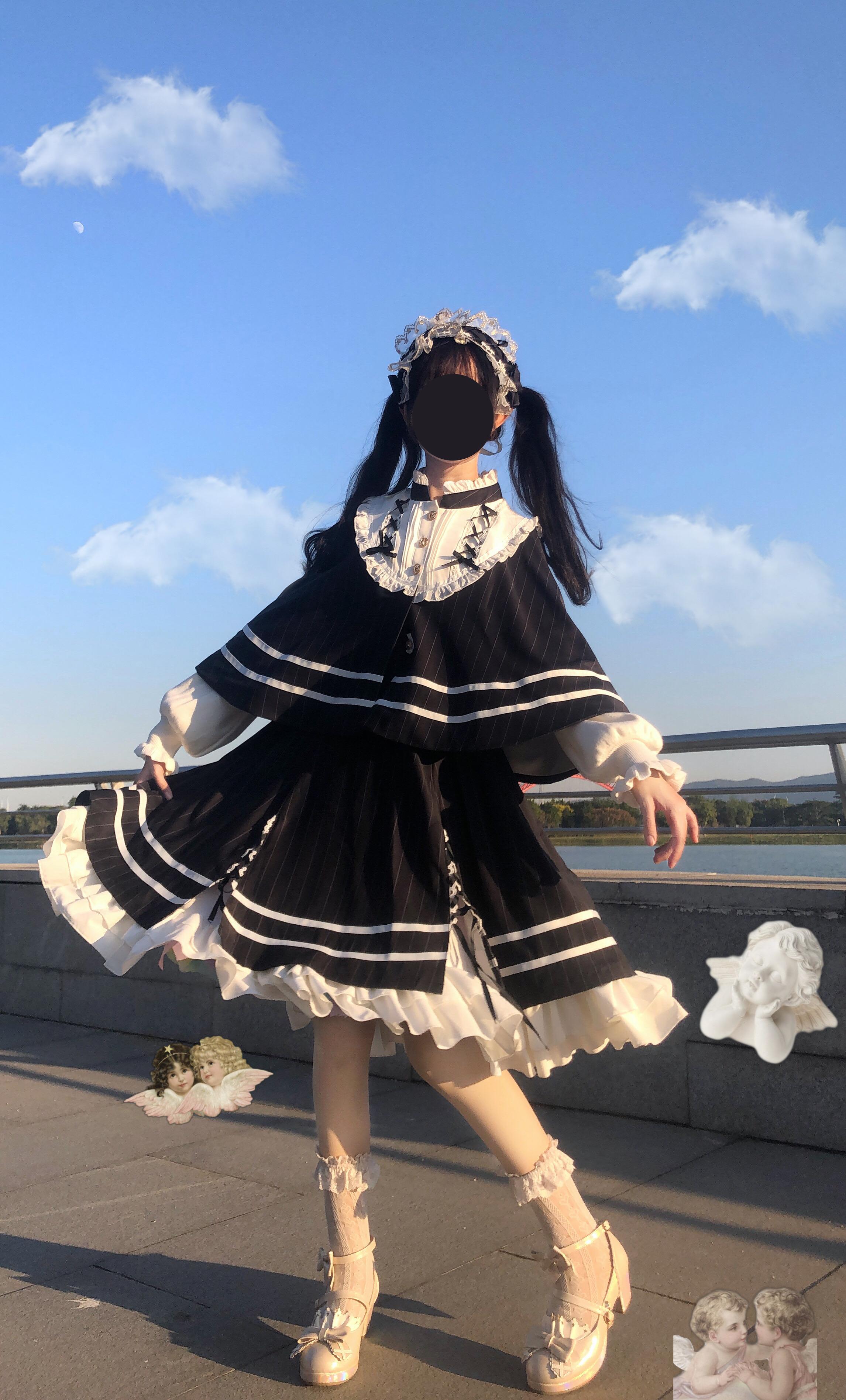 Spot top student Lolita Carol melody original British style Cape skirt two piece set authentic Lolita