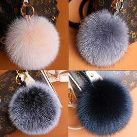 进口狐狸毛毛球挂件毛毛球包包挂饰车钥匙真毛狐狸毛球汽车钥匙扣
