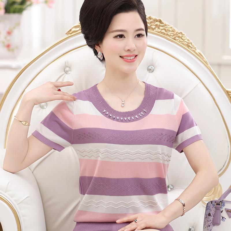 天天特价中老年妇女夏装婆婆短袖上衣服装针织衫40-50岁妈妈装T恤