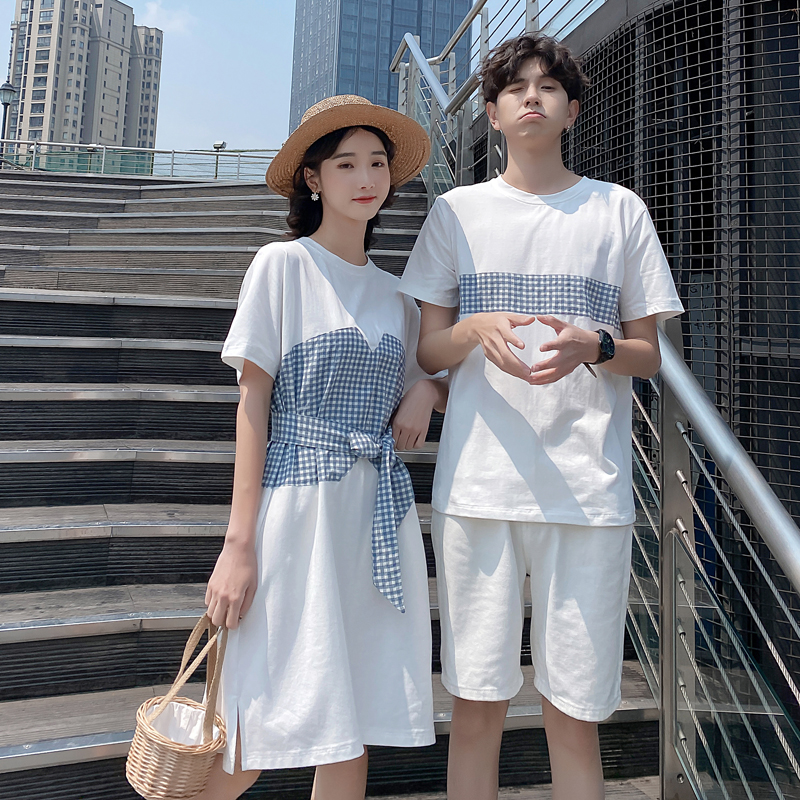 Couples summer clothes new Plaid splicing contrast color mens short sleeve half sleeve top T-shirt womens Dress Holiday trend