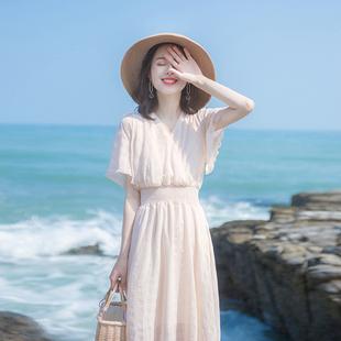 2020夏季新款裙子仙女超仙森系轻熟风气质洋气收腰法式小众连衣裙