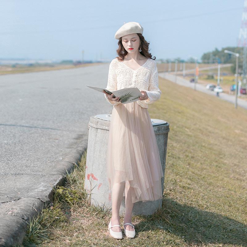 春装2020新款女装时尚针织半身裙气质女神范毛衣套装两件套连衣裙图片