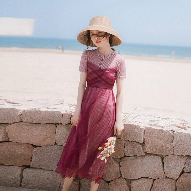 手慢无连衣裙2019新款夏季流行裙子法式复古裙过膝很仙仙女超仙甜美长裙