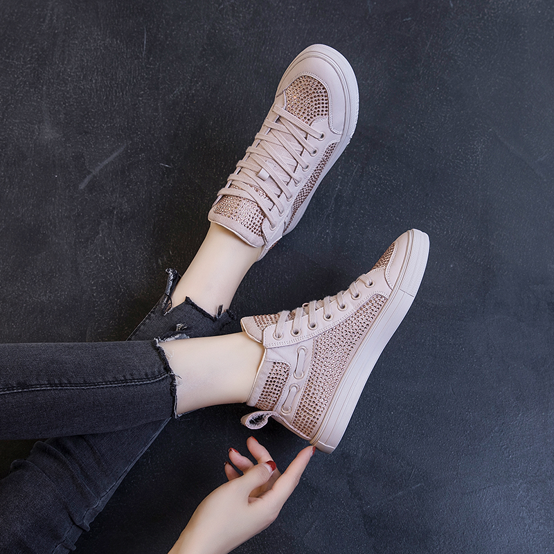 European station network red and pink leather high top shoes womens 2021 popular all-around flat bottomed casual sports shoes