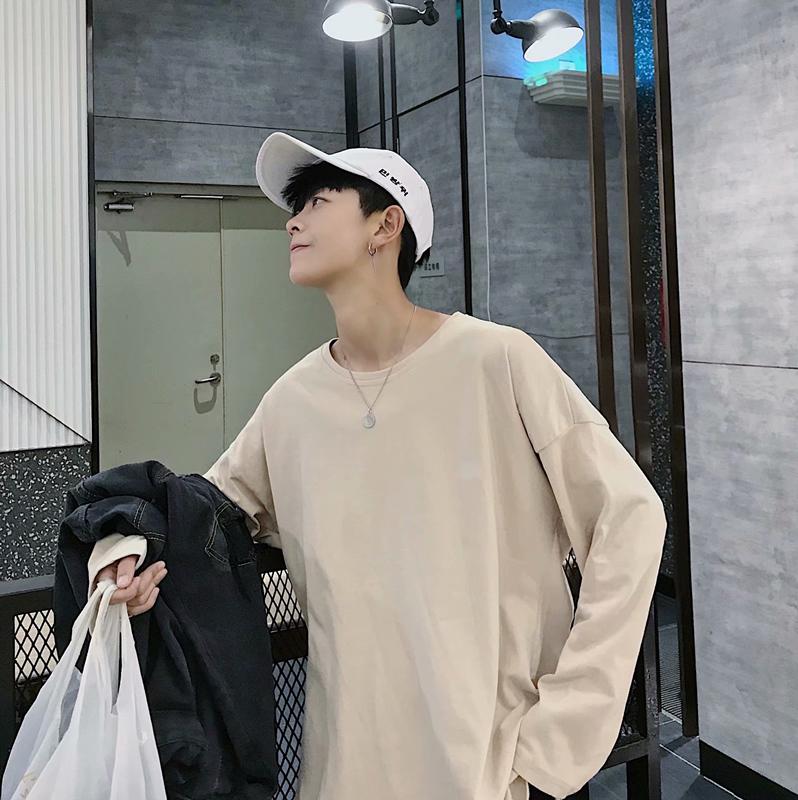 长袖t恤男秋季秋衣韩版潮流宽松圆领纯色白色体恤男士打底衫(非品牌)