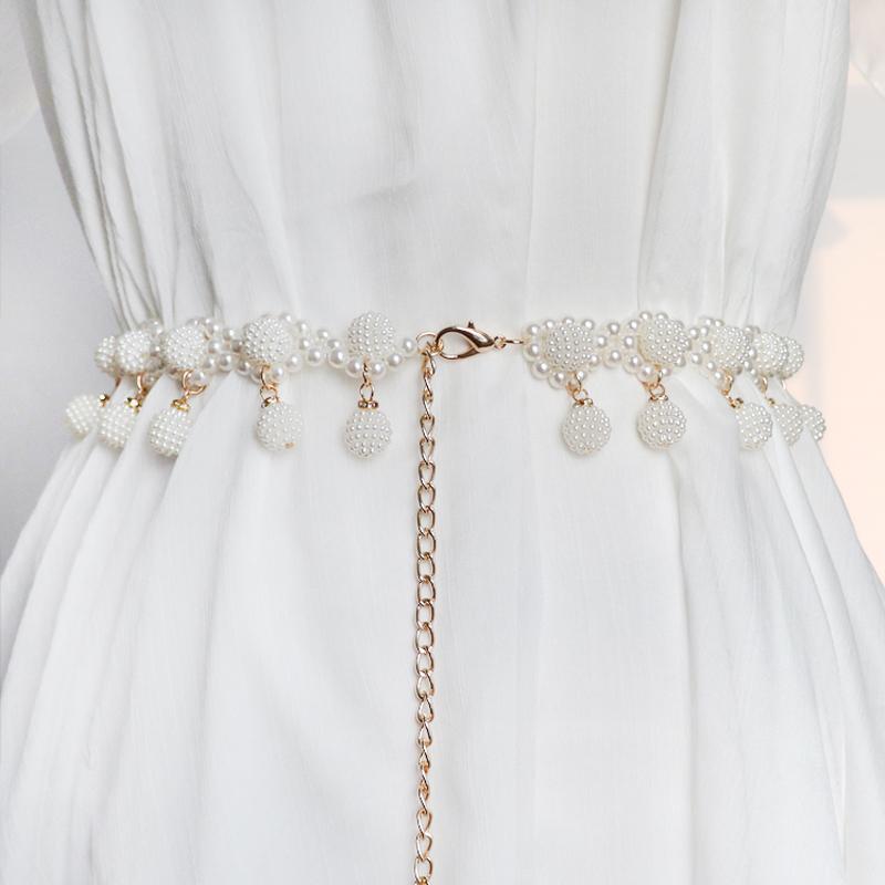 新款珍珠流苏女士甜美女装饰连衣裙珍珠腰链韩版百搭多层时尚腰带