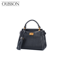 Small Bag Summer 2019 New Cowhide Slant Bag European and American Fashion Kitten Bag Genuine Leather Bag Single Shoulder Handbag