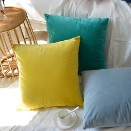 纯色天鹅绒沙发抱枕不含芯大号正方形靠垫欧式客厅长条靠枕套定制