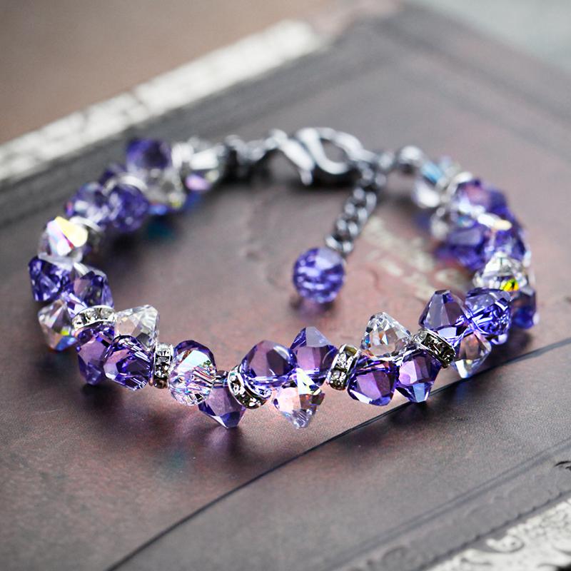 双?原始紫水晶純銀トランスペアブレスレット女子学生プリンセスアクセサリー子供ins小?デザイン