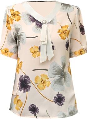 妈妈夏装短袖套装洋气中年妇女雪纺小衫t恤中老年女装上衣两件套