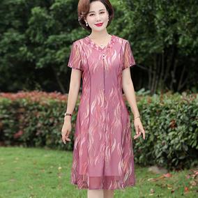 妈妈装夏装中老年女装短袖连衣裙