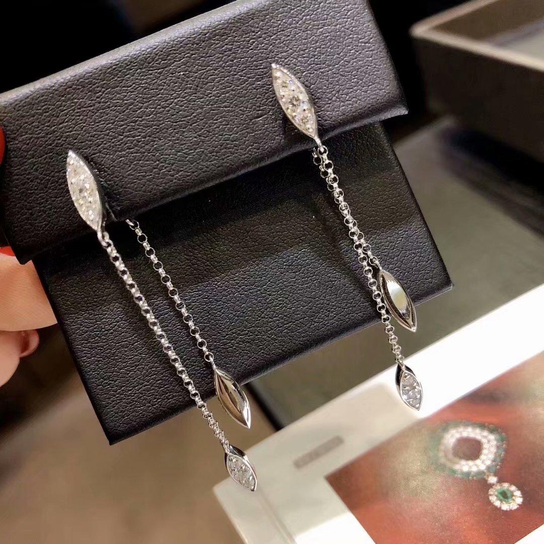 香港珠宝展会18K白金镶女款0.8克拉天然钻石耳线耳坠耳饰真金真钻