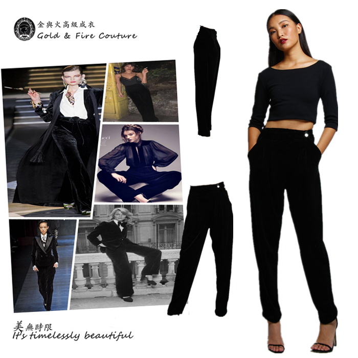 Gold and fire yuppie smoking clothes handsome and slim black velvet velvet tapered pants Harun pants