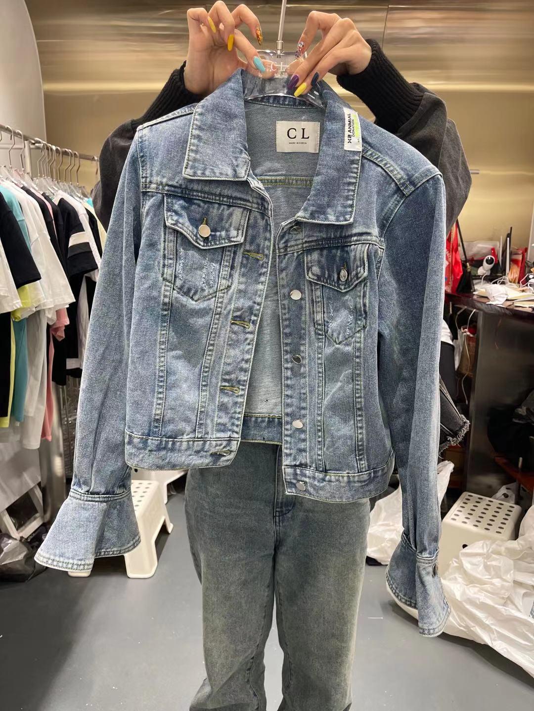 CL 2021春季新欧货百搭显瘦单排扣喇叭袖贴标洋气短款牛仔外套女