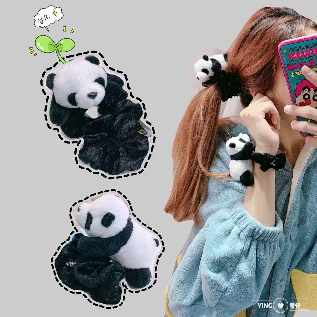 韩国丝绒 趴趴熊猫发饰 小壁虎毛绒熊猫胜利bigbang演唱会
