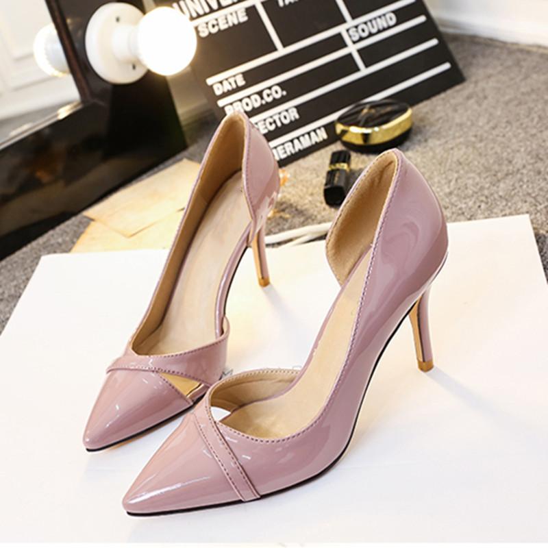 高跟鞋女细跟春新款尖头浅口裸粉色侧空漆皮单鞋小码女鞋313233潮