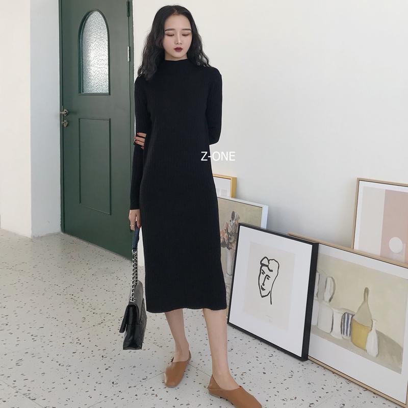 NA AN韩国ulzzang2018冬装新款洋气修身显瘦高领针织裙百搭连衣裙