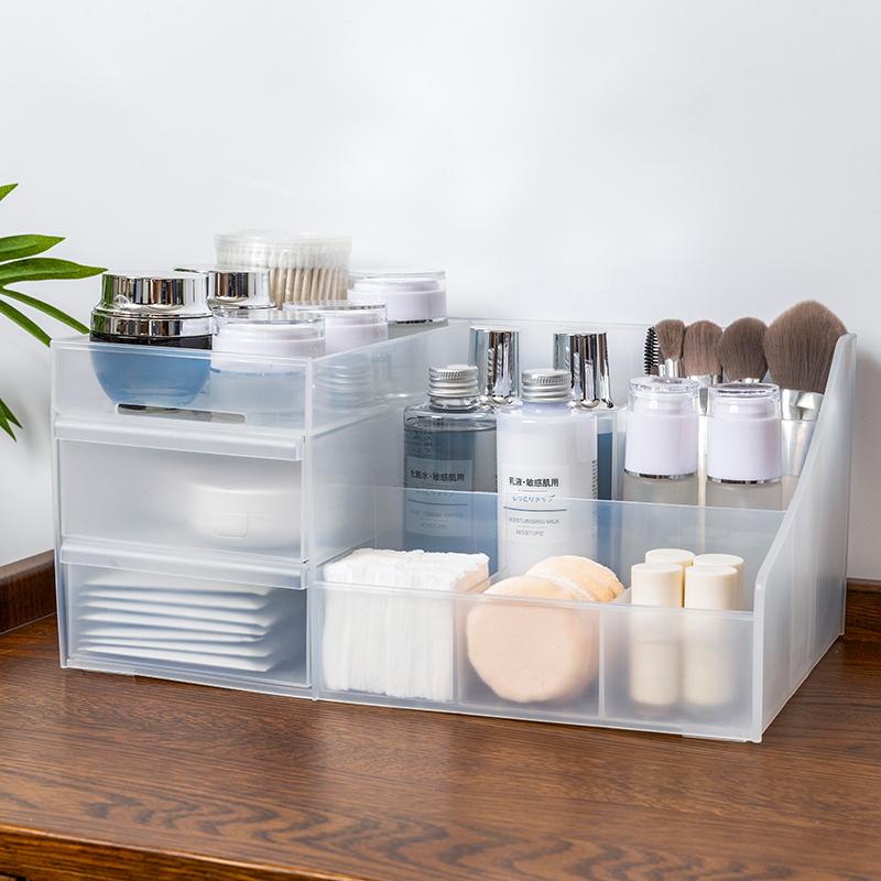 桌面化妆品收纳盒收纳架抽屉式塑料梳妆台化妆盒整理盒口红收纳盒