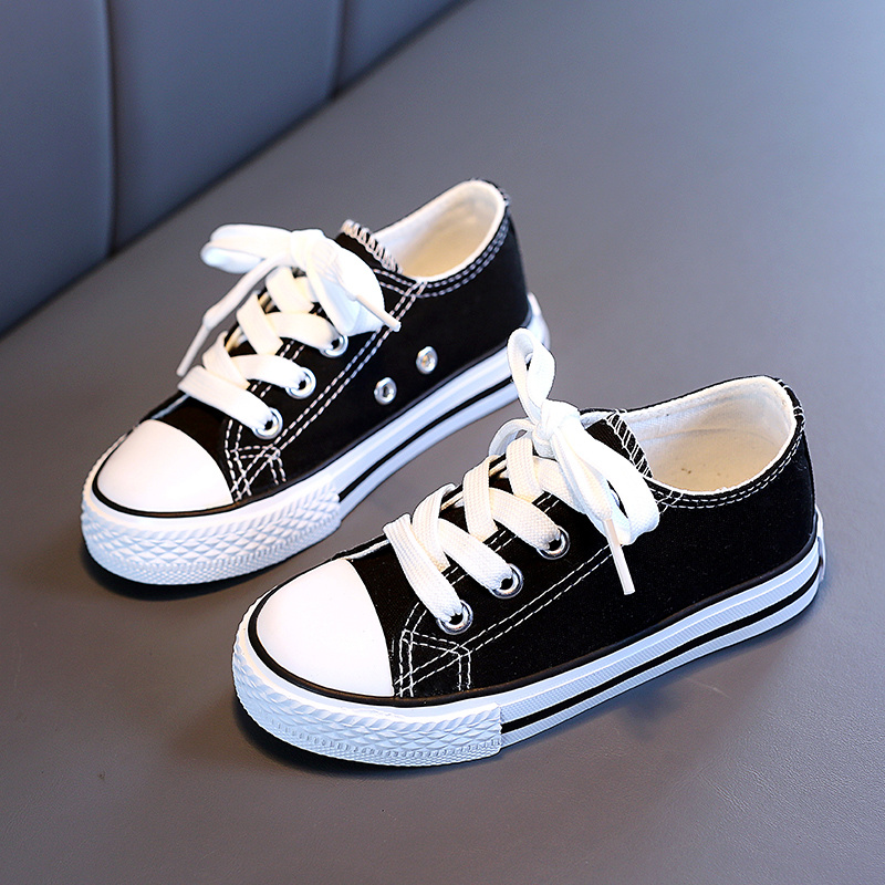 Childrens canvas shoes girls shoes 2021 spring new boys small white shoes baby soft soled shoes
