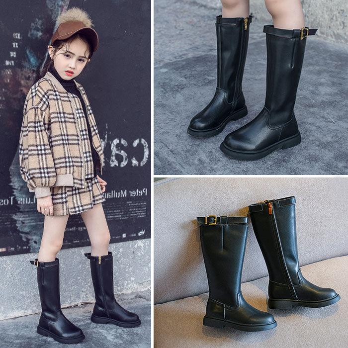 女童靴子2019新款秋冬韩版儿童女中高筒小女孩皮棉靴中大童长筒靴