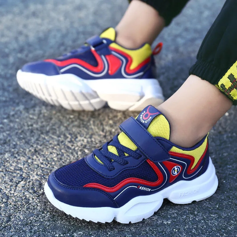 Boys shoes 2021 autumn new childrens breathable mesh sports shoes middle school boys Non Slip running shoes