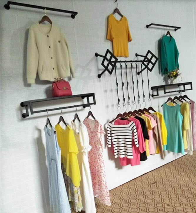 热销0件限时抢购新款铁艺男女装童装服装店衣架展示架上墙壁挂装饰正侧挂陈列货架